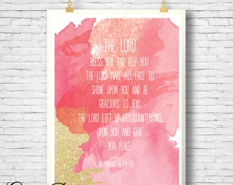 Printable, Bible Verse, Scripture printable, Watercolor print, Scripture Art, Numbers 6:24-26 sign, Lord bless you and keep you printable,