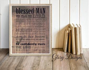 PRINTABLE, Psalm 112 printable art, Scripture art, Gift for Dad, Psalms Print, Gift for a man, Scripture printable, Instant Download