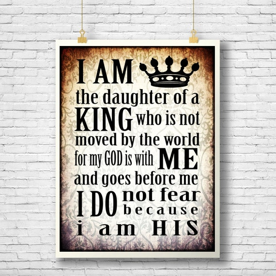 Daughter Of The King Inspirational Quote Printable Scripture Etsy