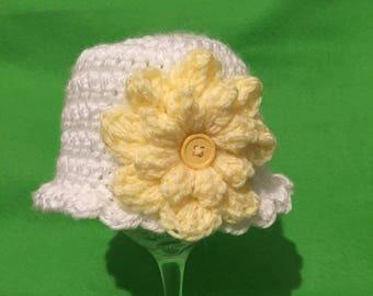 Crocheted baby girls hat