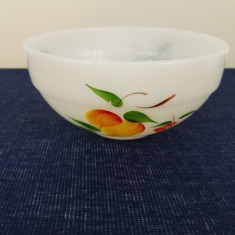 Vintage FireKing Ware Hand Painted USA Made 4 Bowls 3 different Mid Century