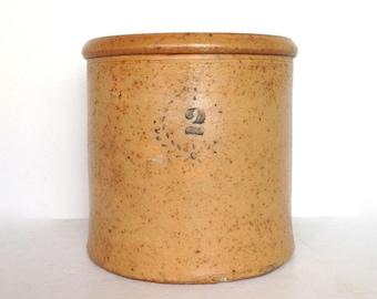 Antique Crock, 2 Gallon Crock with Cobalt Decoration, Honey Color with Wreath Design