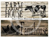 Primitive Weathered Wood Farmhouse Cow Rooster Chicken Digital Sign, Block, Tag, Hang tags Crate Jar Box Crock Label
