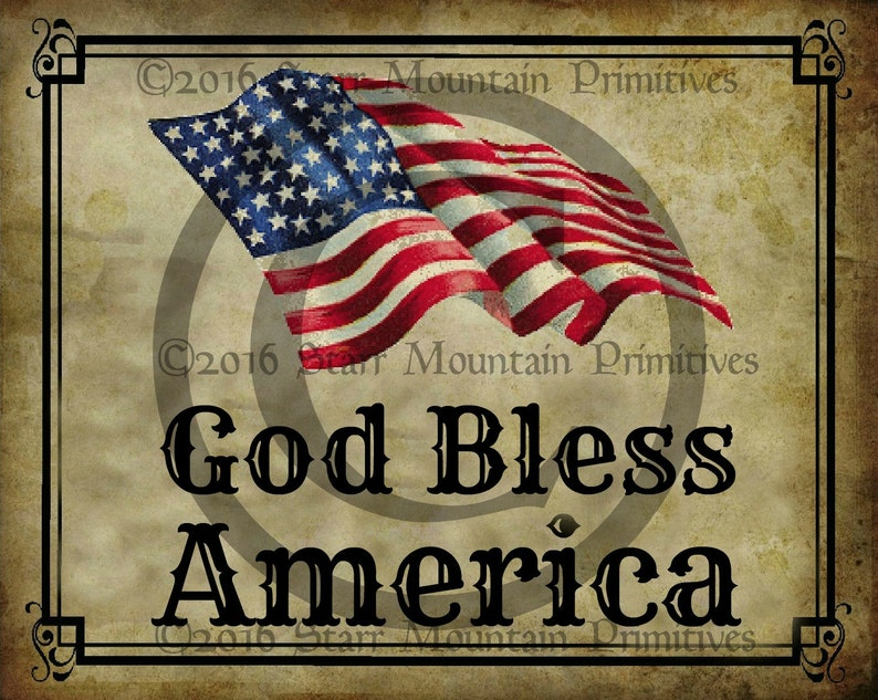 6a36c301d4fc Primitive Patriotic American Flag God Bless America Jpeg