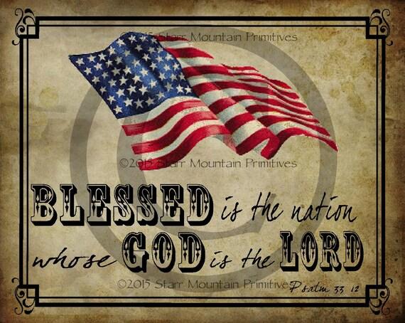 Primitive Americana Constitution American Flag Grungy Patriotic Print 8x10