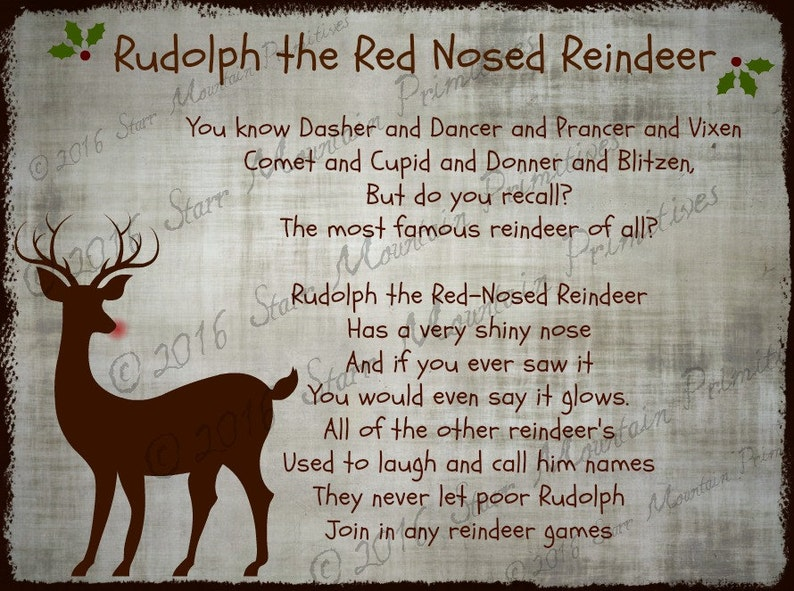picture relating to Lyrics Rudolph the Red Nosed Reindeer Printable named Primitive Rudolph The Purple Nosed Reindeer Music Lyrics Xmas Pantry Brand Label Jpeg Electronic History for Crock Jar, Labels, Pillows, Doll