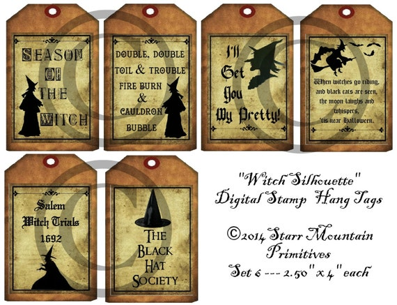 PRIMITIVE 10 HALLOWEEN SPOOKY SALEM WITCH HOUSE HANG TAGS