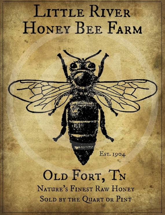 Primitiven Vintage Honey Bee Farm Druckbare Jpeg Digital Bild Etsy