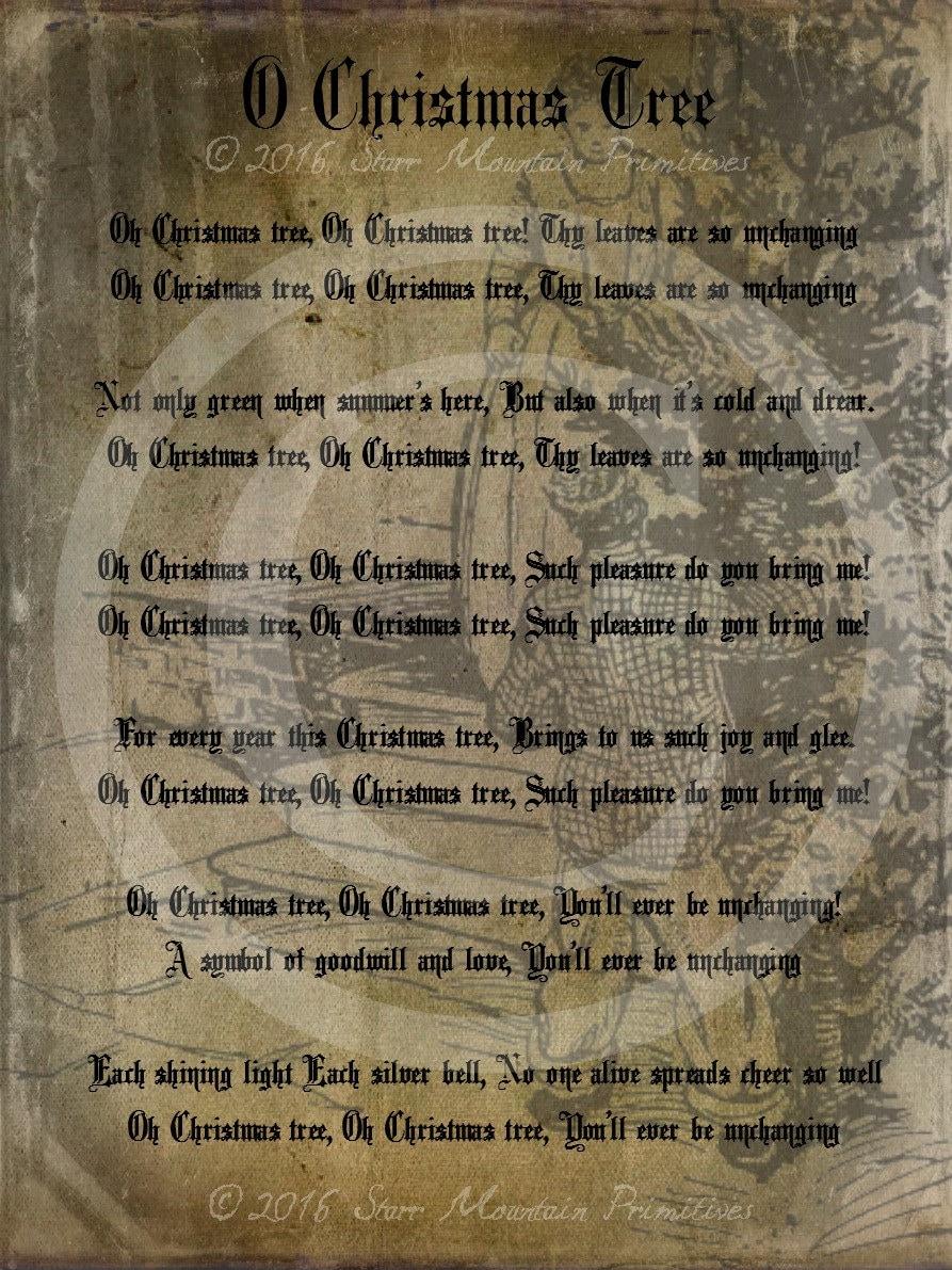 Primitive Grungy O Christmas Tree Song Lyrics Pantry Logo   Etsy