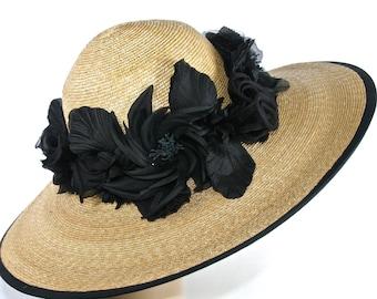 Kentucky Derby Hat Black Natural Straw Easter Hat Church Hat Wide Brim