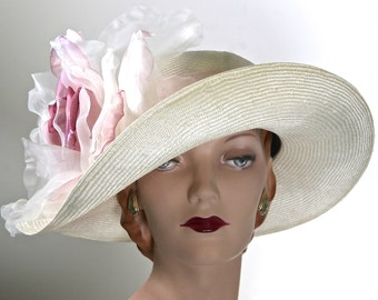 PINK DERBY HAT Ivory and Pink Derby Hat Pink Kentucky Derby Hat Ivory Wedding Hat