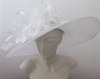 Kentucky Derby Hat White, Black or Red Derby Hat WIDE BRIM Hat