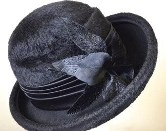 13d83463a7dba2 Vintage Black Felt Hat Womens
