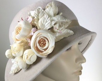 Women Felt Cloche Winter Hat Miss Fisher Flapper Medium Brim Hat