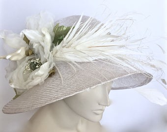 Kentucky Derby White Hat  White Derby Cloche Hat