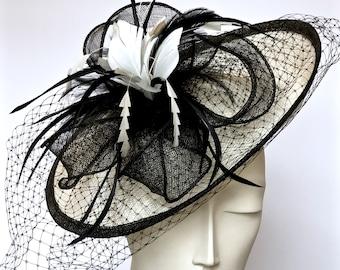 Kentucky Derby Black Fascinator Ivory Black Straw Women Hat Black Church Hat