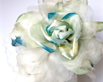 Kentucky Derby Fascinator Off White and Turquoise Fascinator Wedding Hat