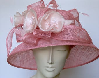 Kentucky Derby Hat Pink Straw Hat WIDE BRIM Hat Church Pink