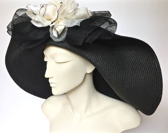 Kentucky Derby Black Straw Hat Large Brim Straw Hat for Derby Black Straw Church Hat