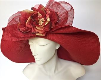 Kentucky Derby Red Straw Hat Large Brim Straw Hat for Derby Red Straw Church Hat