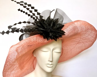 Kentucky Derby Peach Hat Straw Women Hat PeachChurch Hat