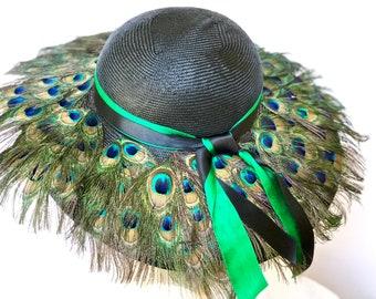 Black Kentucky Derby Straw Hat Peacock FeathersHat Black Straw Summer Hat