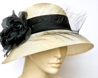 Kentucky Derby Hat Ivory Women's Hat Feathers Church Hat