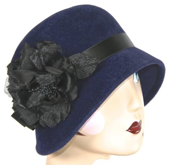 Navy Blue Felt Women s Cloche Hat Womens Winter Navy Blue  35600242b1e