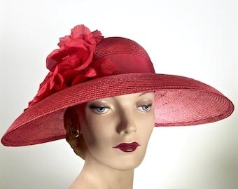 WIDE BRIM Kentucky Derby Hat, Black Women's Wide Brim Straw Hat