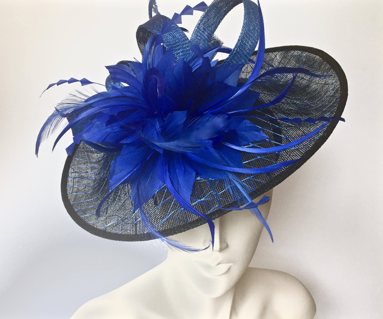 Kentucky Derby Blue and Black Fascinator Royal Blue Straw 820520120df