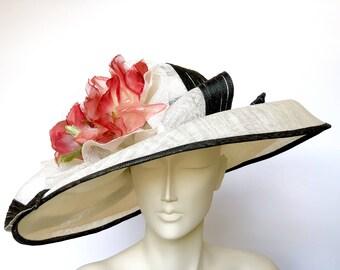 Kentucky Derby Black White Hat Wide Brim Red Rose Hat Easter