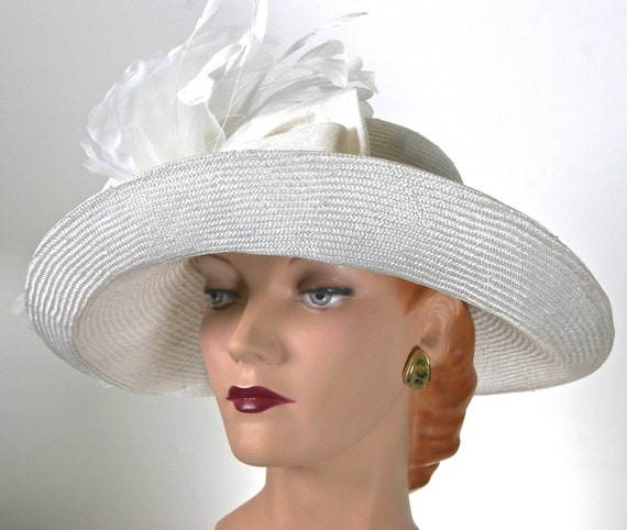 Kentucky Derby Hat WIDE BRIM White Straw Hat Large Brim  1fed26c6d0b3