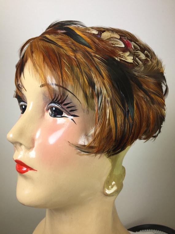 Vintage 1950's Women's Hat, 1950's Feather Hat,Bro