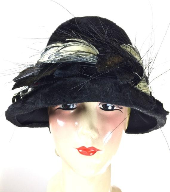Vintage Christian Dior Black Felt Hat, Vintage Wom