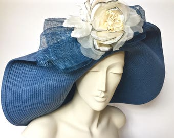 Kentucky Derby Blue Straw Hat Large Brim Straw Hat for Derby Blue Straw Church Hat