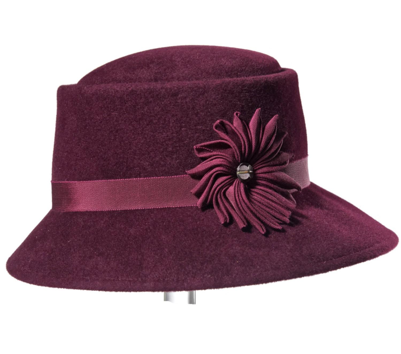62f7928b48f Burgundy Women s Felt Hat Medium Brim Hat for Woman