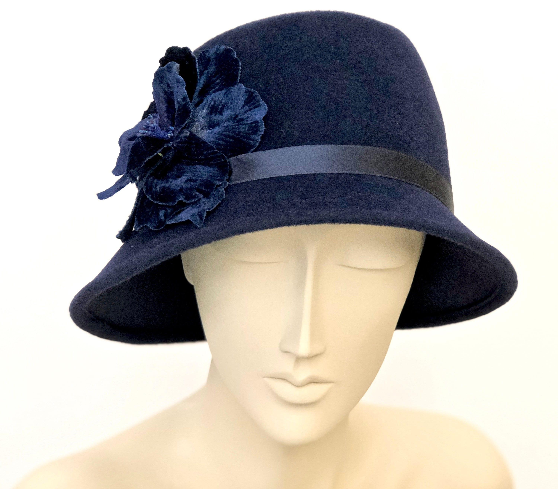 Blue Felt Winter Hat Felt Winter Hat Cloche Blue Felt Hat  4e131781d