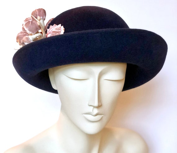 Navy Blue Felt Winter Cloche Hat Small Brim Hat For Winter  e621fb64190