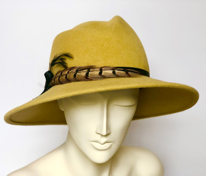 bf1defe0a405d Yellow Women s Felt Fedora Hat Medium Brim Hat Fur Felt