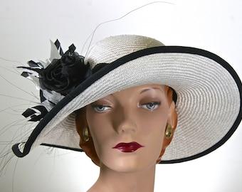 Kentucky Derby Hat Off White Women's Hat Feathers Church Hat Wedding Hat
