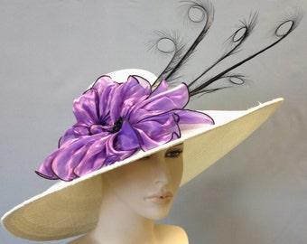 WIDE BRIM Kentucky Derby Hat,  White Straw Women's Hat, Easter Hat