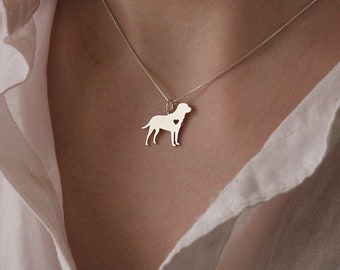 Labrador Retriever necklace sterling silver dog breeds pendant w/ Heart - Love Pet Jewelry Italian chain Women Best Cute Gift Personalized