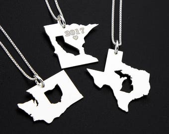 personalized state in state necklace long distance relationship gift  girlfriend gift , best friend gift , college gift state inside state