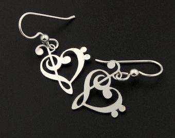 Heart clef G clef bass clef heart earrings silver music note Treble clef earrings music note French wire Hook earrings - gift for musician