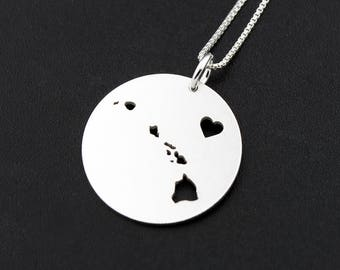 Hawaii necklace Personalized Engravable sterling silver Hawaii state necklace w/heart comes with Box style chain Hometown Necklace pendant