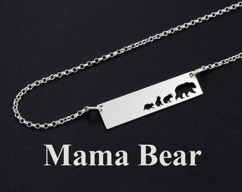 Mama Bear and baby necklace Sterling silver bar necklace mom necklace mother and daughters mother gift  Personalized mother and child gift