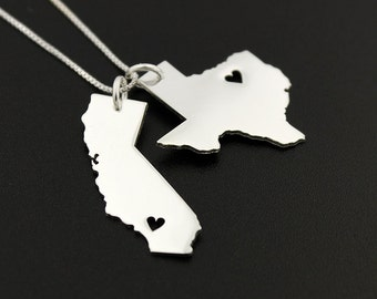 State pendant etsy any two state necklace with heart cut out comes with the box style chain personalized 2 state 1 chain state pendant best gift valentines day aloadofball Images