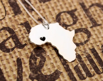 Africa necklace sterling silver Africa Shape necklace with heart Personalized and Engraving country Gift  - Love Africa  gift for her
