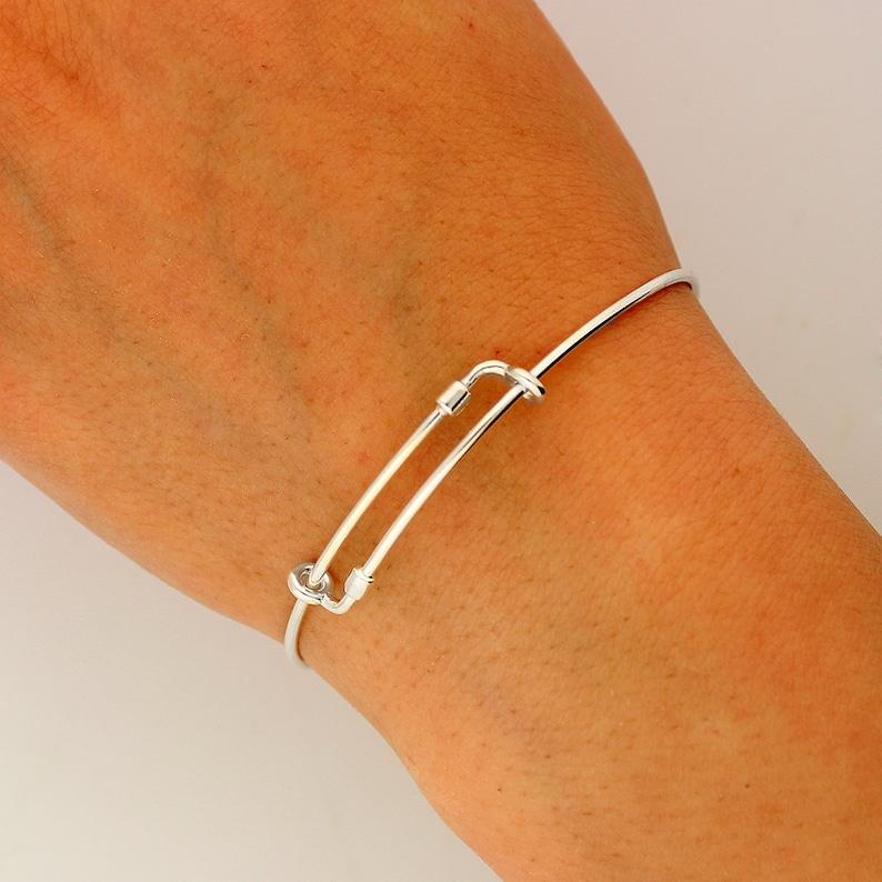 Love Ecuador Expandable Bangle Bracelet STERLING SILVER Personalized Initial Charm Adjustable bracelet Best friend gift S-13