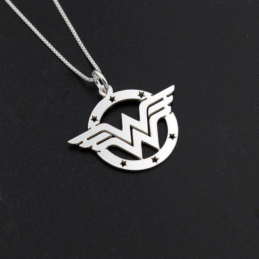 Wonder Woman Necklace Sterling Silver Wonder Woman Symbol Super